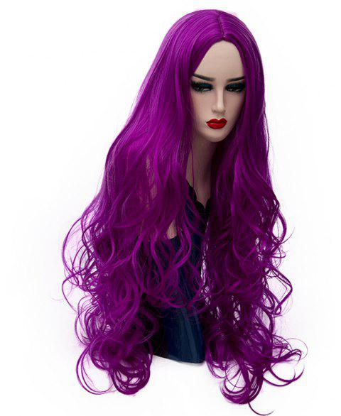 Synthetic Fashion Purple Wig Long Curly Hair High Temperature for Women 31 inch - PURPLE FLOWER
