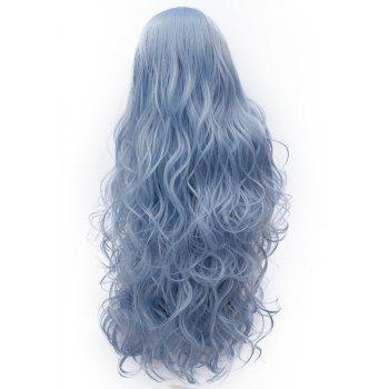 Synthetic Fashion Sky Blue Long Curly Hair High Temperature for Women 31 inch - DAY SKY BLUE