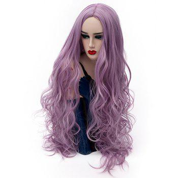 Synthetic Fashion Pink Purple Long Curly Hair High Temperature for Women 31 inch - PURPLE DRAGON