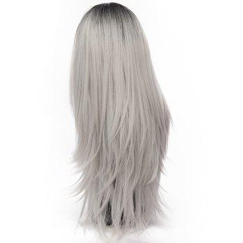 Long Straight Silver Grey Wig High Temperature for Women Cosplay Party 29 inch - PLATINUM