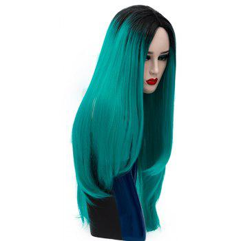 Long Straight Green Bob Wig High Temperature for Women Cosplay Party 29 inch - DARK TURQUOISE