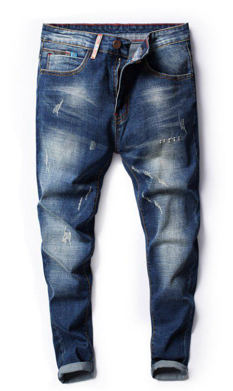 Four Seasons Can Wear Simple Casual Men Jeans - JEANS BLUE 30