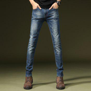 Four Seasons Can Wear Simple Casual Men Jeans - JEANS BLUE 36
