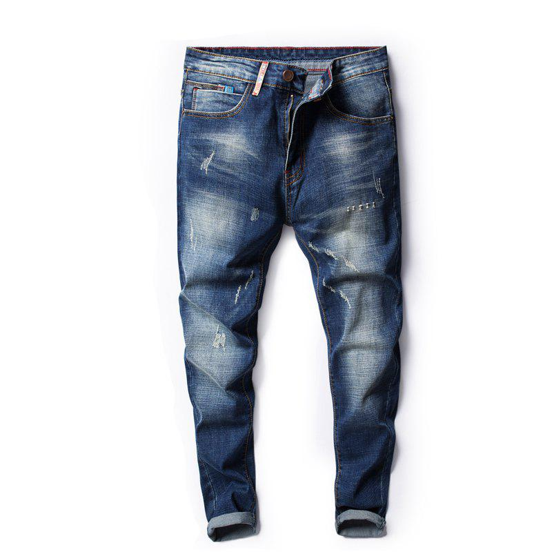 Four Seasons Can Wear Simple Casual Men Jeans - JEANS BLUE 32