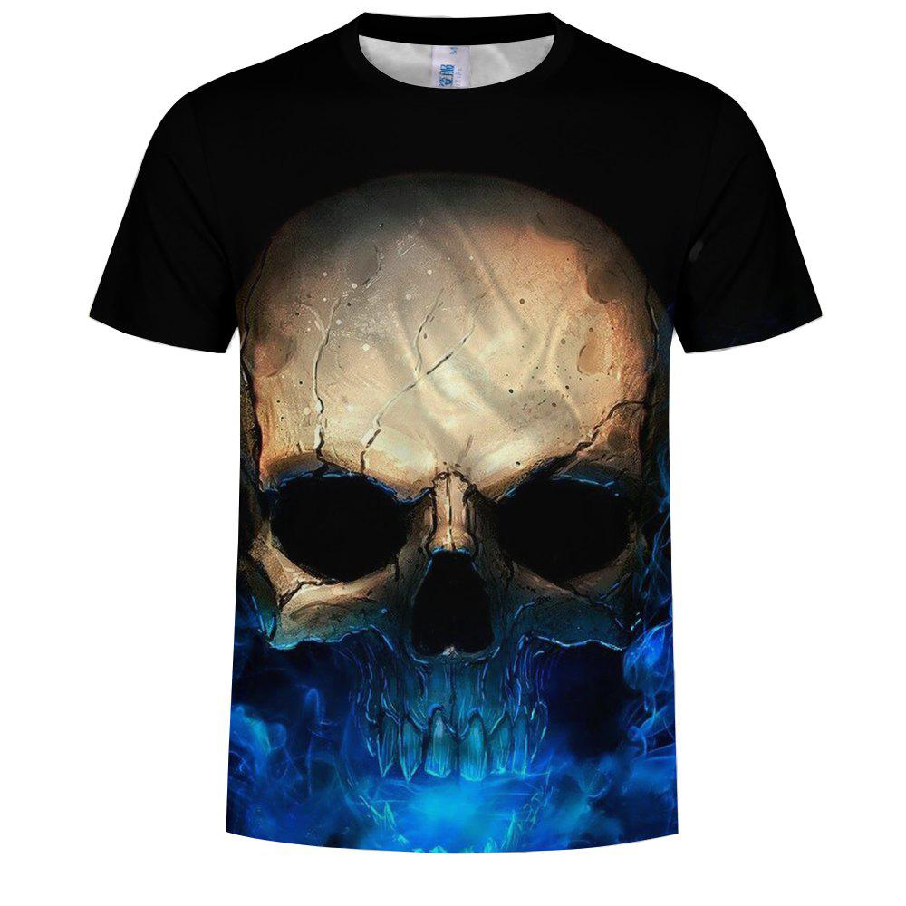 2018 New Summer Fashion Blue Skull 3D Print Men's Short Sleeve T-shirt цена