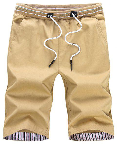 Men Casual Shorts Fashion Solid Color Simple Breathable Pant - PEACH L