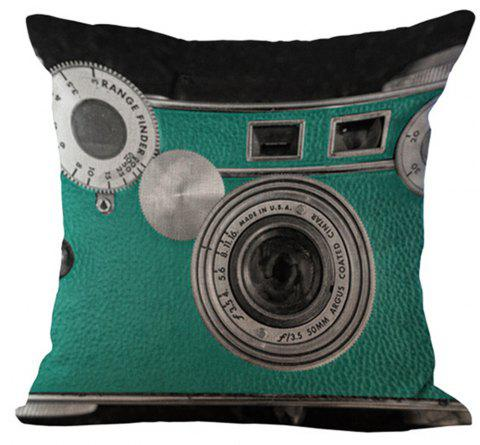 Super Soft Printed Camera Cushion Cover - LIGHT SEA GREEN