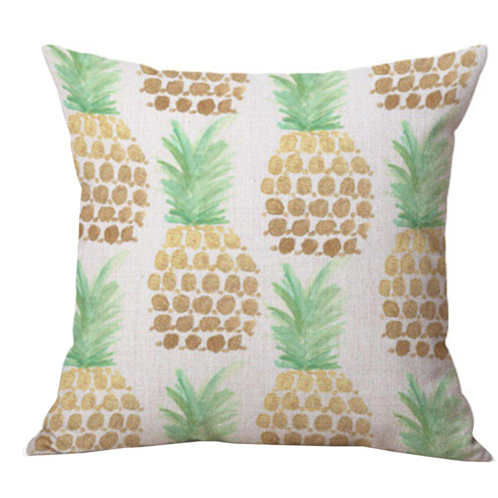 Pineapple Pattern Printed Cushion Cover - GOLD