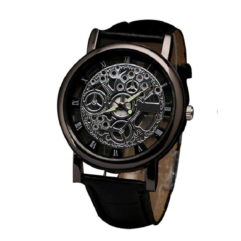 The Fashion Leisure Business Hollow Out Men Quartz Watch - BLACK