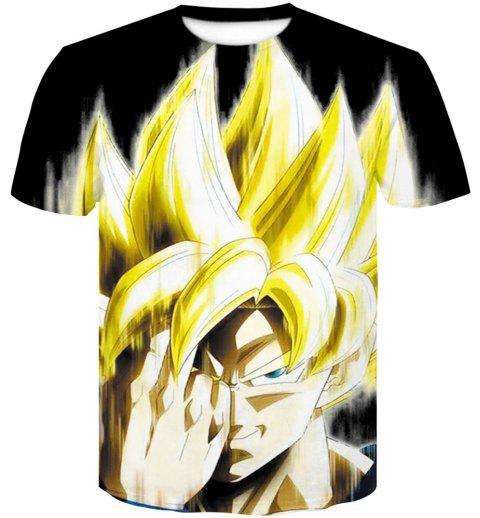 Men's Short Sleeved Blonde Saiyan Digital Print T-shirts - BLACK 2XL