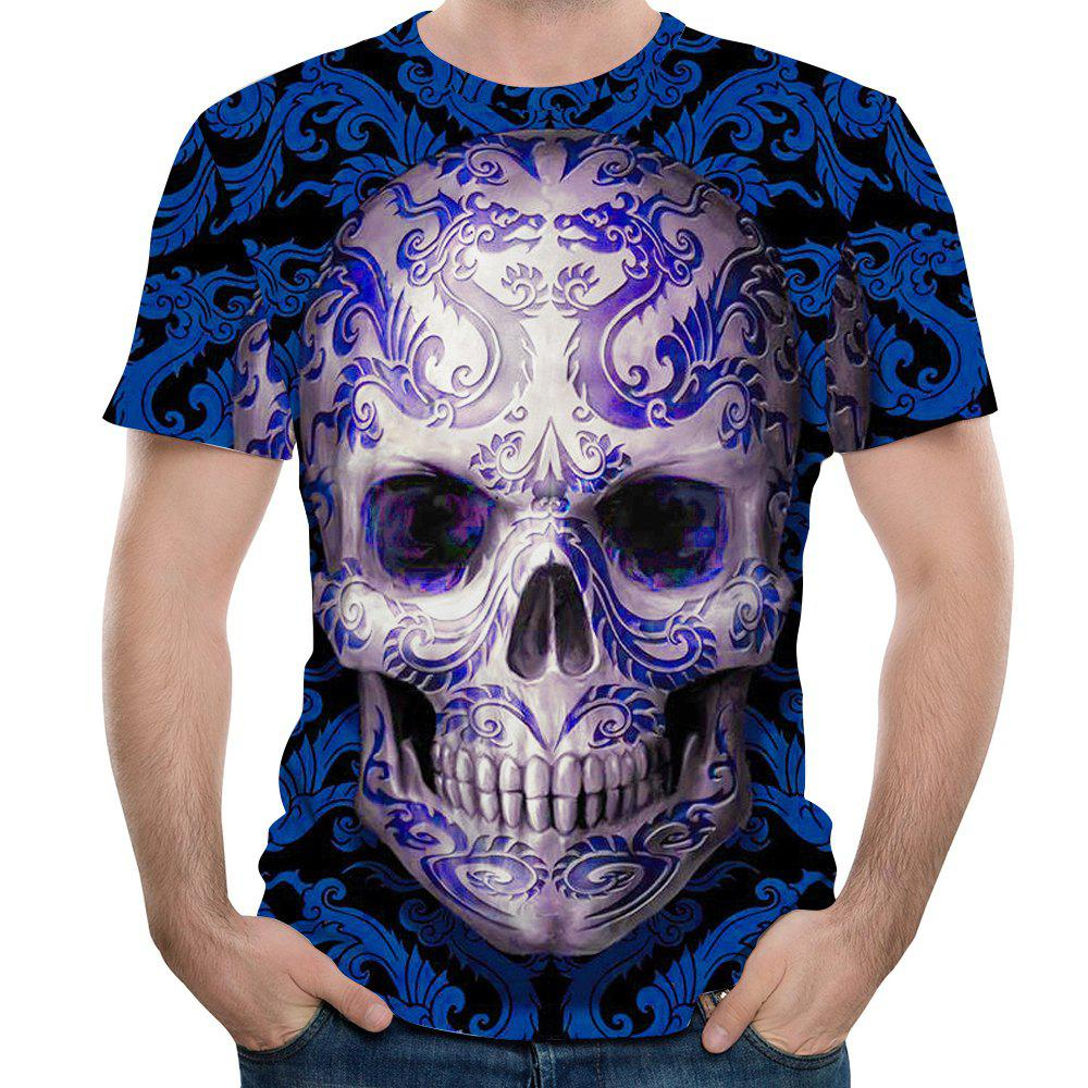 New Fashion Blue Skull Head 3D Print Men's Short Sleeve T-shirt цена