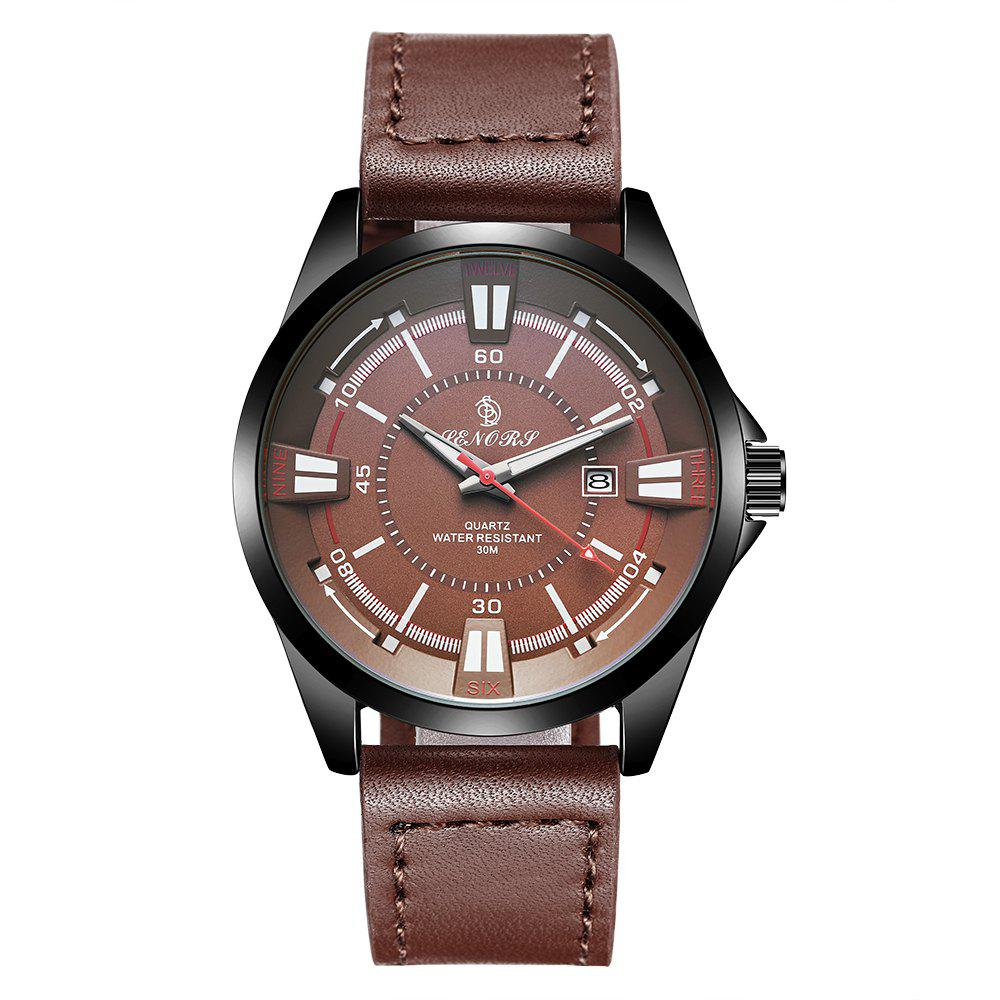 Senors SN010 Men Leather Band 3ATM Waterproof Quartz Watch - BROWN