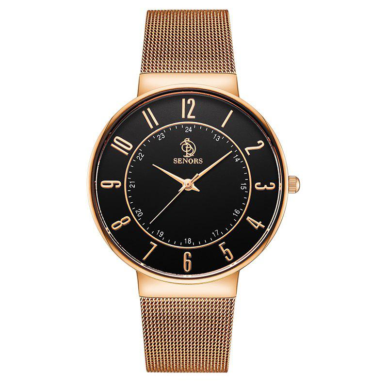 SENORS SN029   Men Ultra-thin Steel Band Quartz Watch - ROSE GOLD