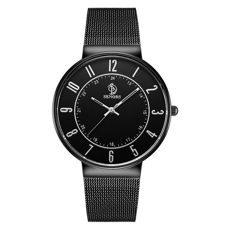 SENORS SN029   Men Ultra-thin Steel Band Quartz Watch - BLACK
