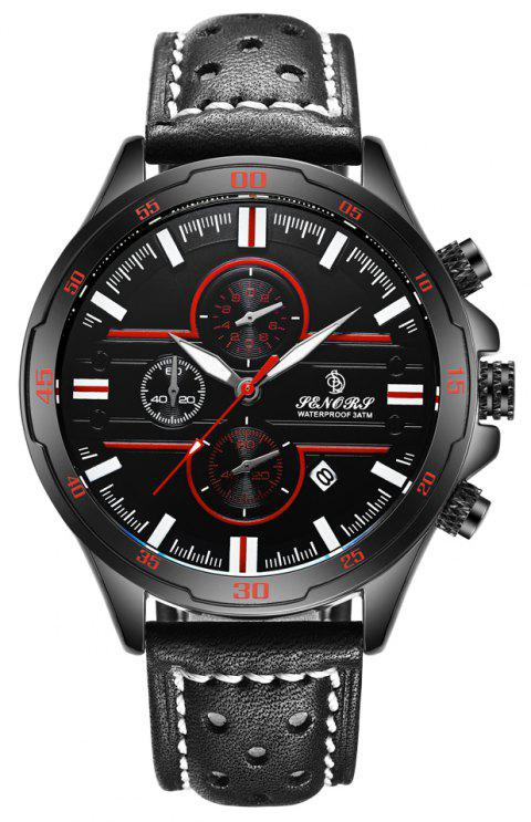 SENORS  SN007  Leather Chronograph Men Watches - RED WINE