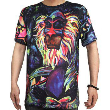 Trend Digital Printing Short-Sleeved T-Shirt - BLACK 4XL