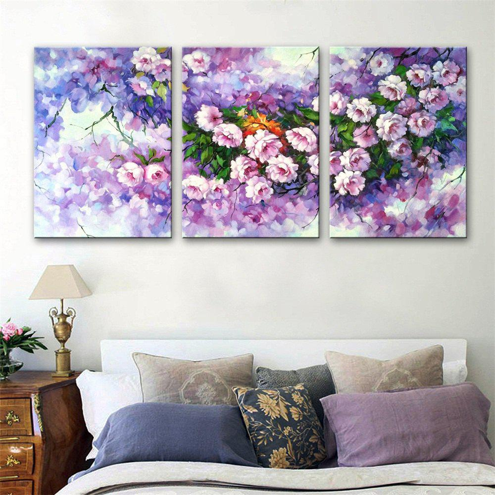 Special Design Frameless Paintings Flowers Print 3PCS - multicolor 20 X 14 INCH (50CM X 35CM)