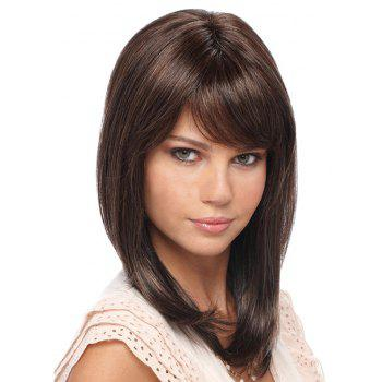 Women Shoulder Length Straight Synthetic Wig - BROWN