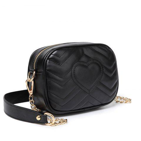 Ladies Casual Solid Color Heart-Shaped Leather Crossbody Bag - BLACK