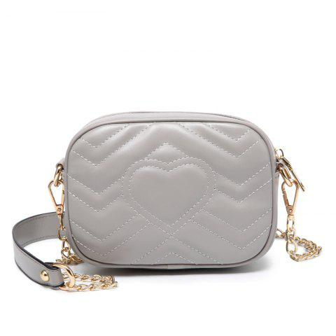 Ladies Casual Solid Color Heart-Shaped Leather Crossbody Bag - LIGHT GRAY