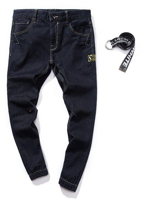 Stylish and Simple Trend Slim Men's Jeans - BLACK M