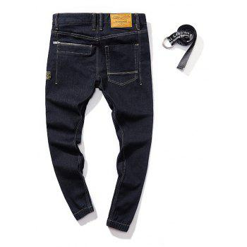 Stylish and Simple Trend Slim Men's Jeans - BLACK L
