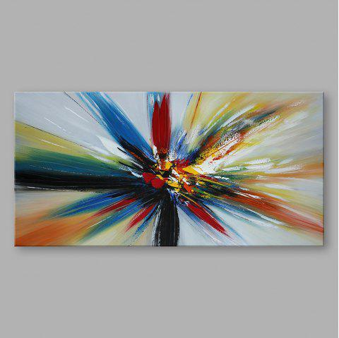 STYLEDECOR Handmade Abstract Horizontal Colorful Ray Oil Painting for Decor - multicolor 24 X 48 INCH (60CM X 120CM)