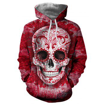 New Fashion Red Skull Head 3D Printing Man Hoodie - CHILLI PEPPER S