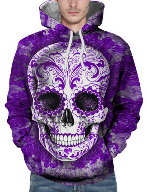 New Fashion Purple Skull Head 3D Printing Men's Hoodie - PURPLE 2XL