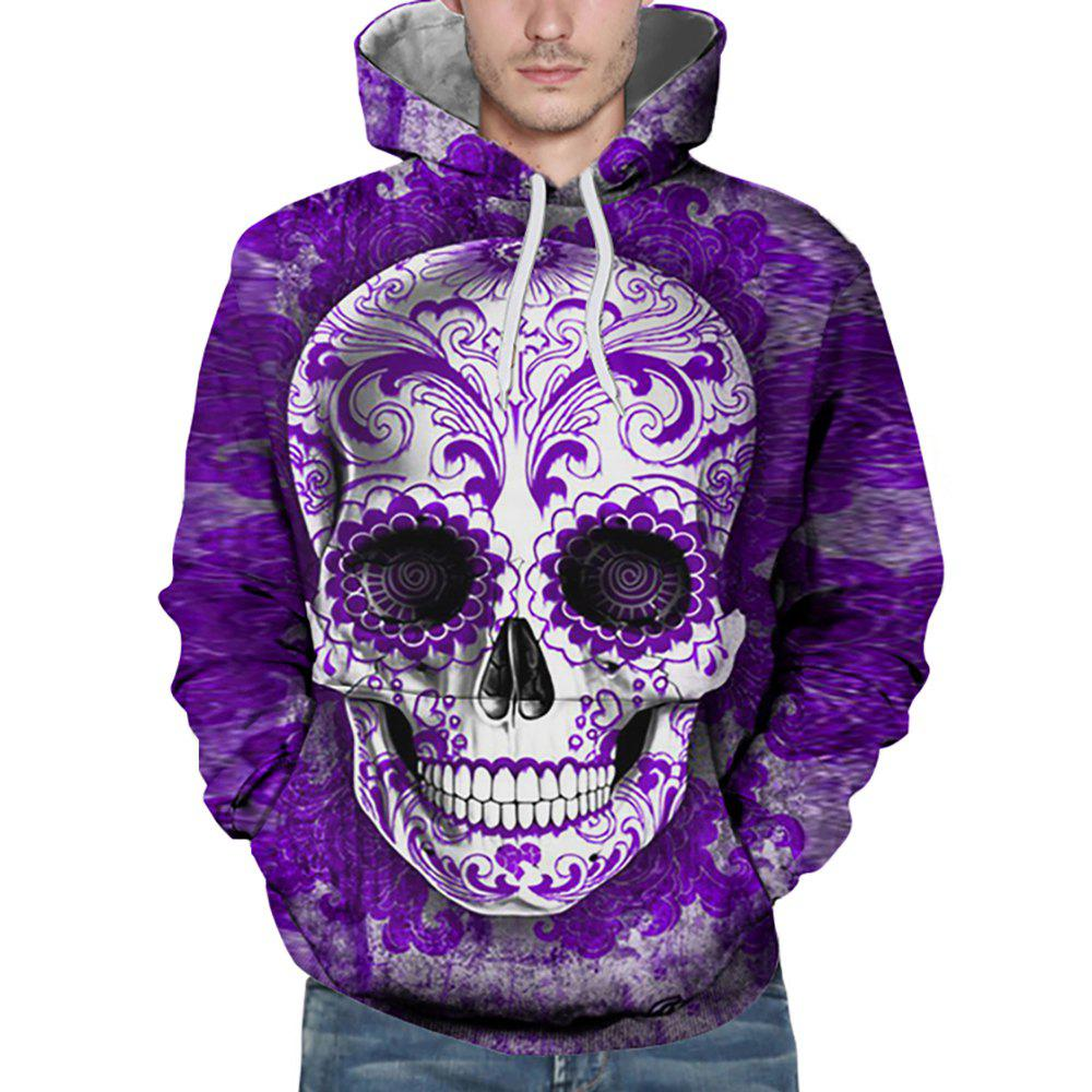 New Fashion Purple Skull Head 3D Printing Men's Hoodie - PURPLE S