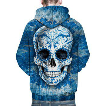 New Fashion Blue Skull Head 3D Printing Man Hoodie - BLUE KOI 3XL