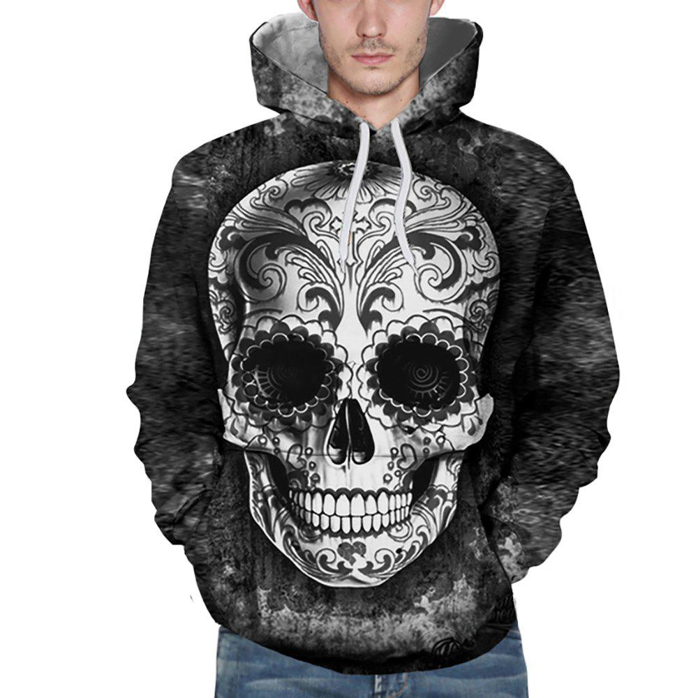 New Fashion Grey Skull Head 3D Printing Man Hoodie - MIST BLUE 2XL