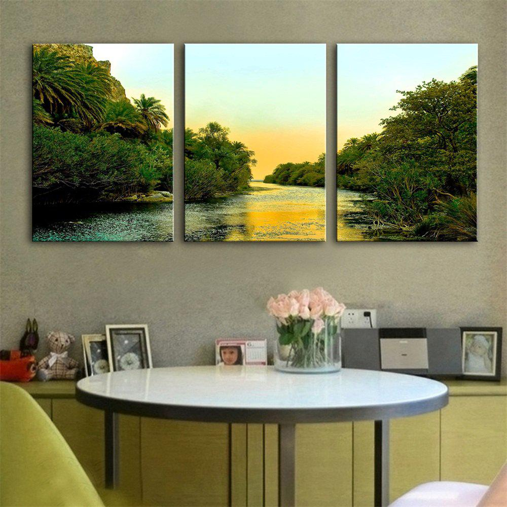 Special Design Frameless Paintings Both Sides of The River Print 3PCS