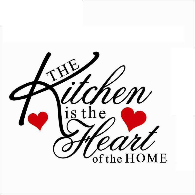 Kitchen is Heart of the Home Quote Wall Decal Removable Wall Sticker pastel heart wall decal