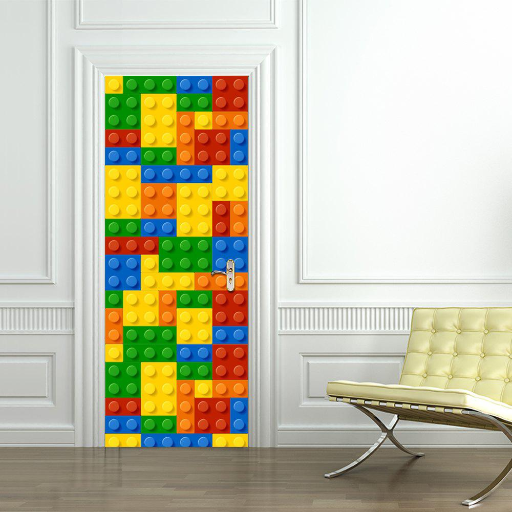 3D Building Blocks Children Toys Door Sticker for Kids Rooms Decoration - multicolor 77X200CM