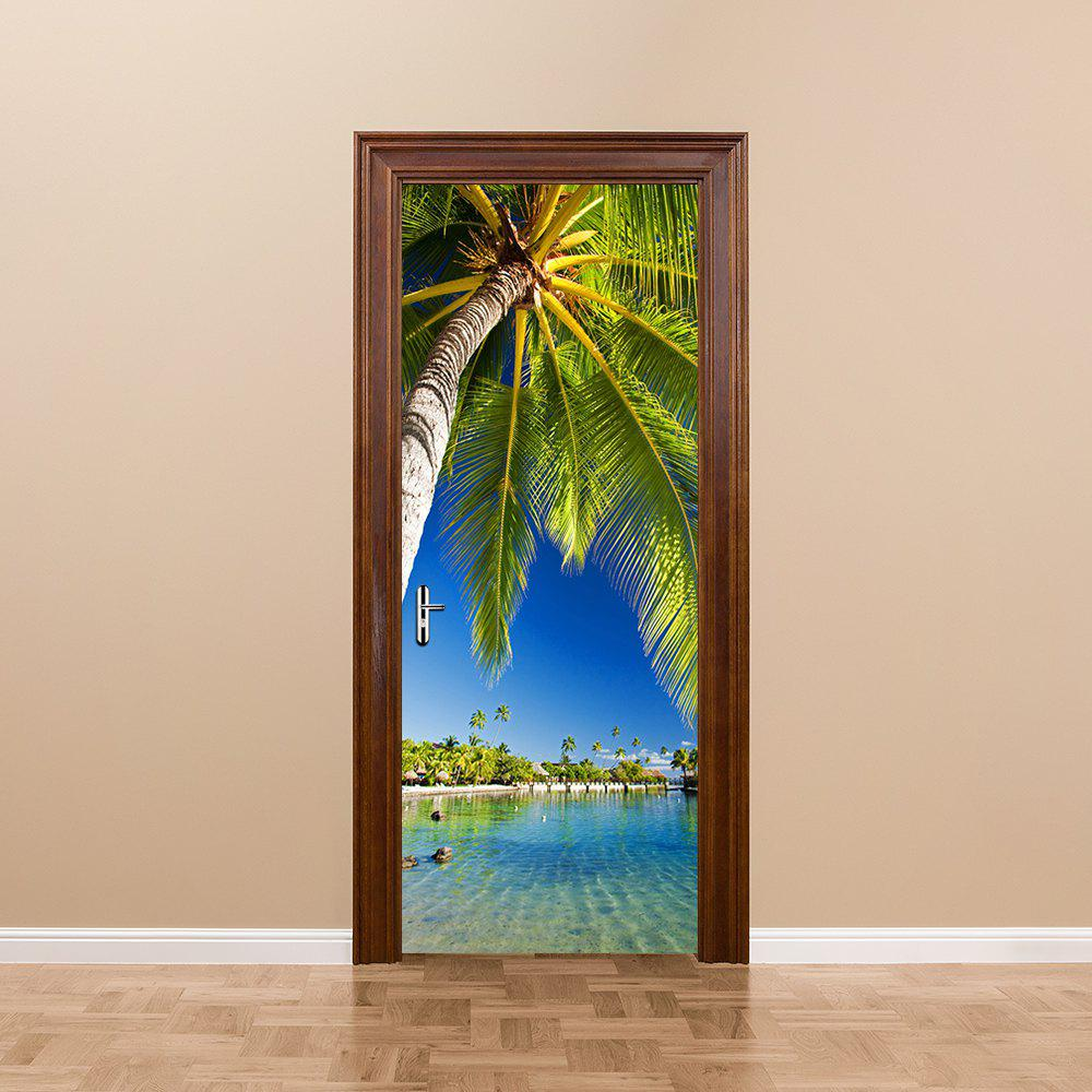 Palm Tree Waterproof 3D Door Mural Sticker for Living Room Self-Adhesive