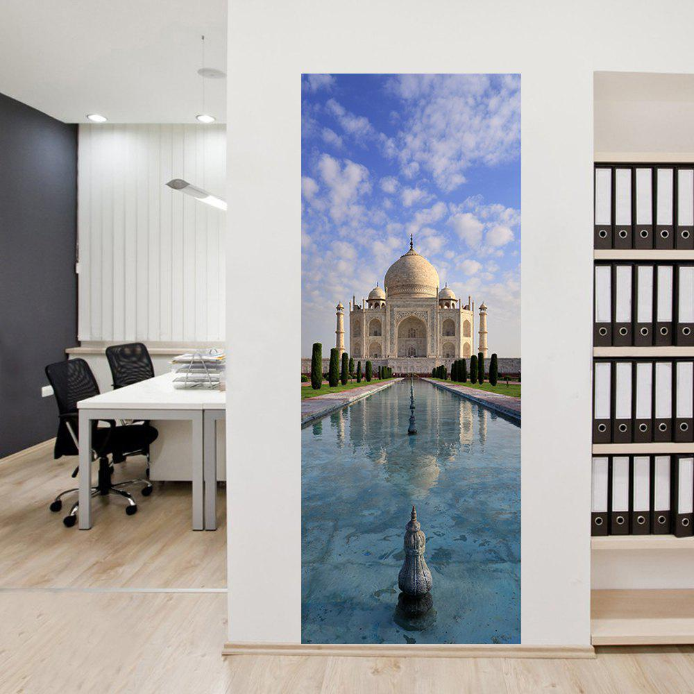 3D Taj Mahal Door Sticker Creative Building View Wall Decals Home Decor