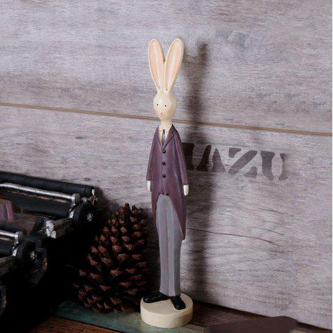 WX-Y016-09European Retro Couple Resin Rabbit Home Decoration Ornaments - BROWN