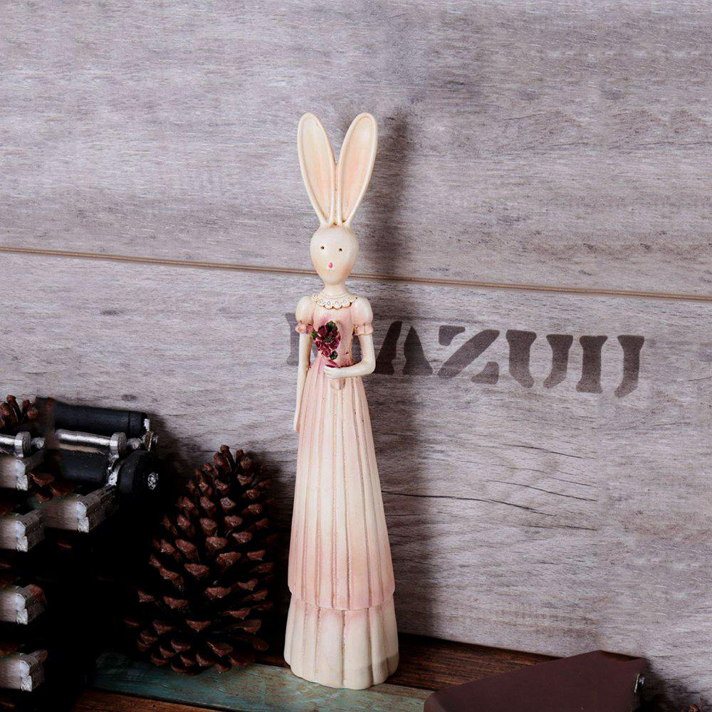 WX-Y016-09European Retro Couple Resin Rabbit Home Decoration Ornaments - PINK