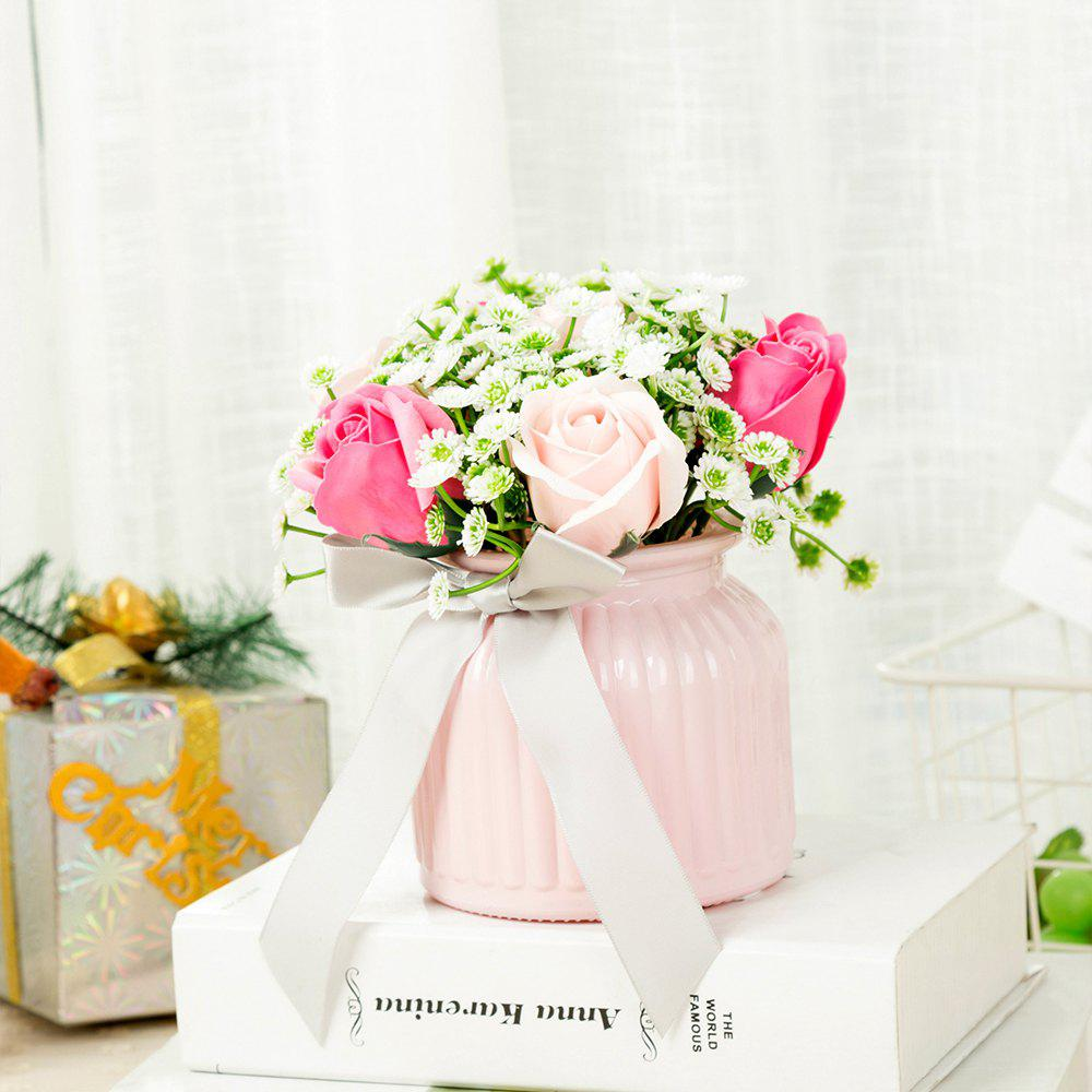 WXQY-09 Home Ceramic Rose Flower Pot - PINK