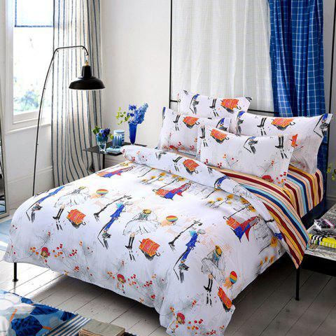 New Spring Bedding Sets Sweetheart Style Creativity Space Duvet Cover Set Quilt - WARM WHITE KING