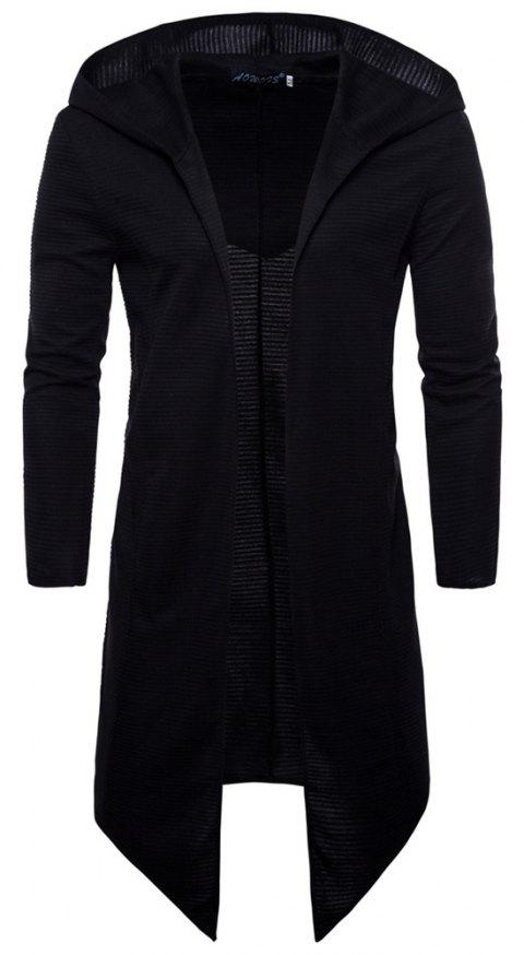 Spring Autumn New Style Large Size Long Clothes Hooded Jacket - BLACK 4XL