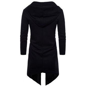 Spring Autumn New Style Large Size Long Clothes Hooded Jacket - BLACK XL