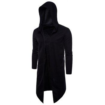 Spring Autumn New Style Large Size Long Clothes Hooded Jacket - BLACK 2XL