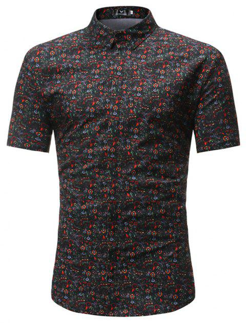 New Style Summer Short Sleeve Multicolour Pattern Shirt - multicolor M