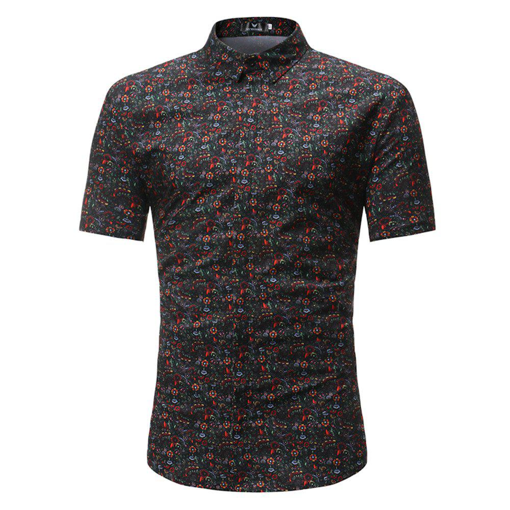 New Style Summer Short Sleeve Multicolour Pattern Shirt - multicolor 3XL