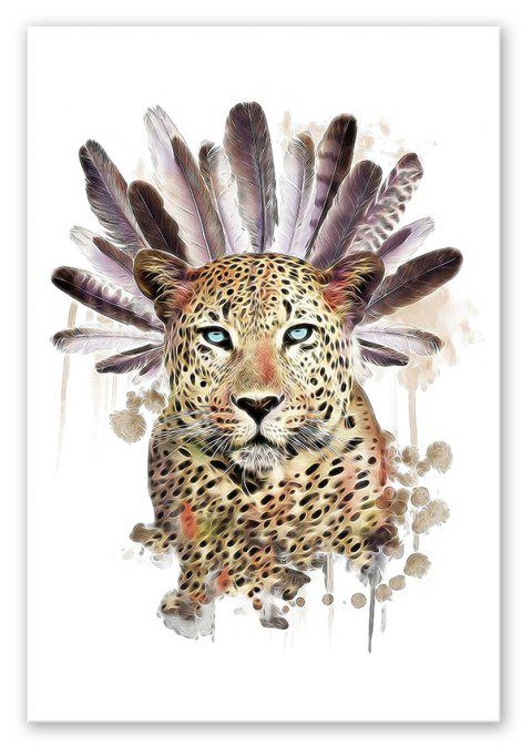 W022 Leopard Head Unframed Wall Art Canvas Prints for Home Decoration - multicolor A 40CM X 60CM