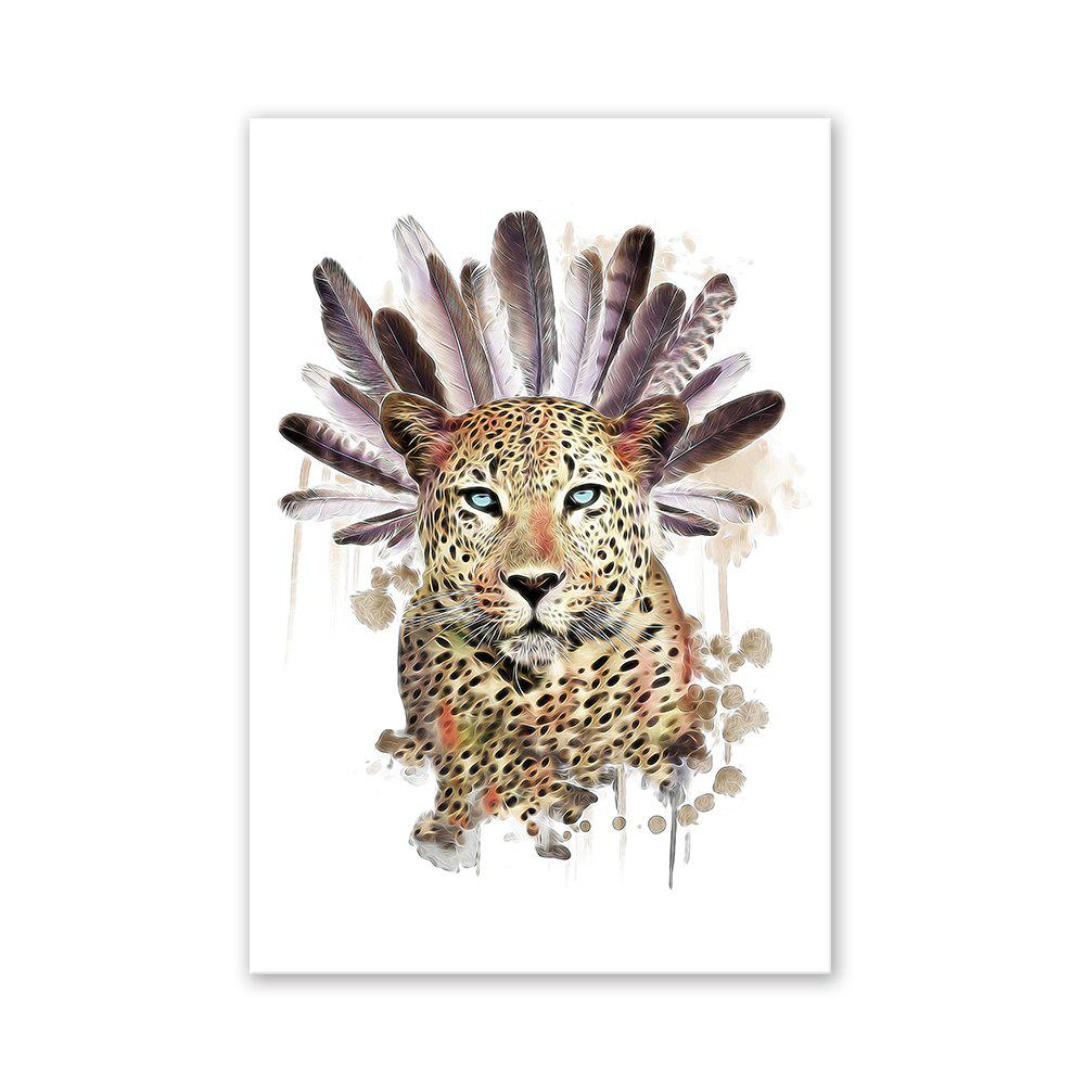 W022 Leopard Head Unframed Wall Art Canvas Prints for Home Decoration burning guitar pattern unframed wall art canvas paintings
