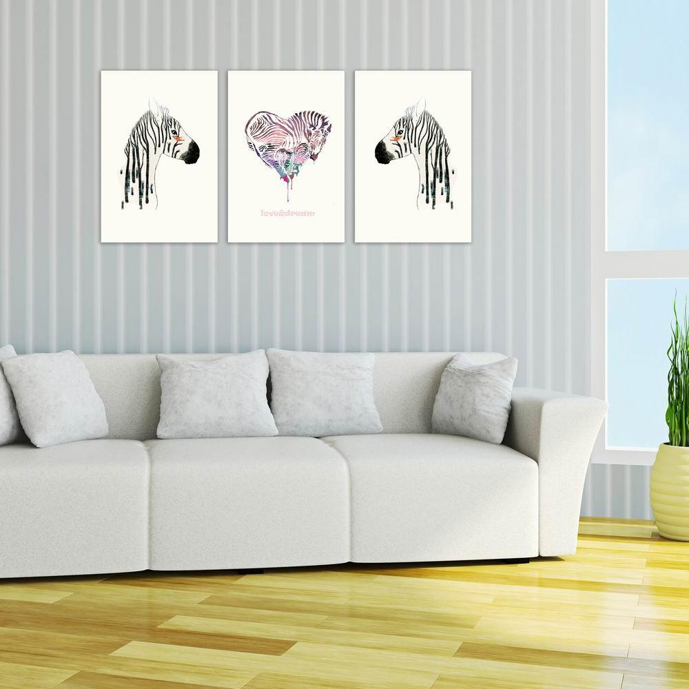 Фото W032 Zebra Unframed Art Wall Canvas Prints for Home Decorations 3 PCS family wall quote removable wall stickers home decal art mural