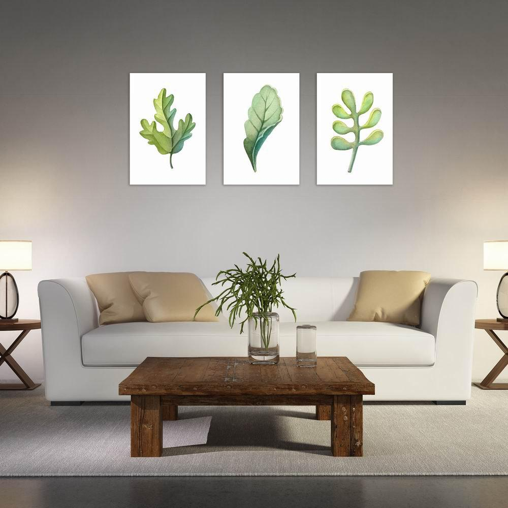 Фото W039 Leaves Unframed Art Wall Canvas Prints for Home Decorations 3 PCS family wall quote removable wall stickers home decal art mural